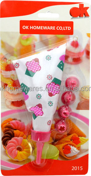 5 pcs EVA / TPU assorted nozzles icing bag set baking tool with cupcake printed