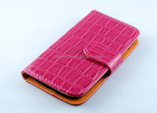 high class pink crocodile PU leather material case for samsung galaxy S4 I9500 S4 mini