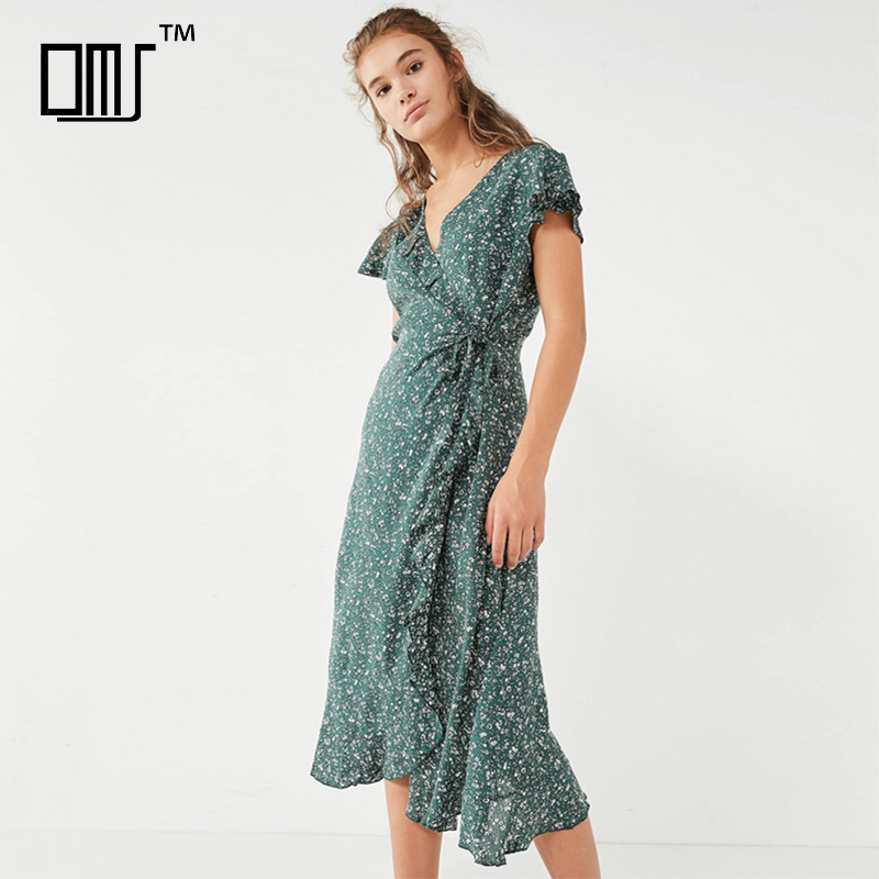 Floral ruffle short sleeve mature feminine long wrap dress in green