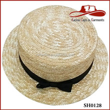 Straw Boater Hat Cheap with Princeton Colors