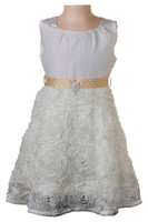 Girls Formal Dress with Floral Ribbon Embroidery