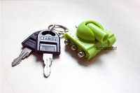 Creative gift ABS&stainless steel tank design green color wholesale keyring