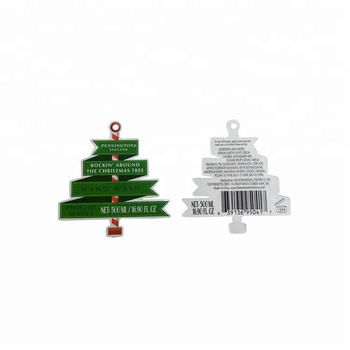 Special design Christmas tree shape hand wash recycled paper hang tags