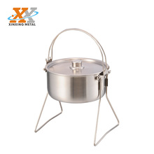 Tri-ply Material Stainless Steel Camping Pot Camp Pot With Stand Fire induction L size