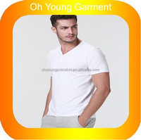 customed leisure type summer wear men's v-neck half sleeve cotton lycra t-shirts Male