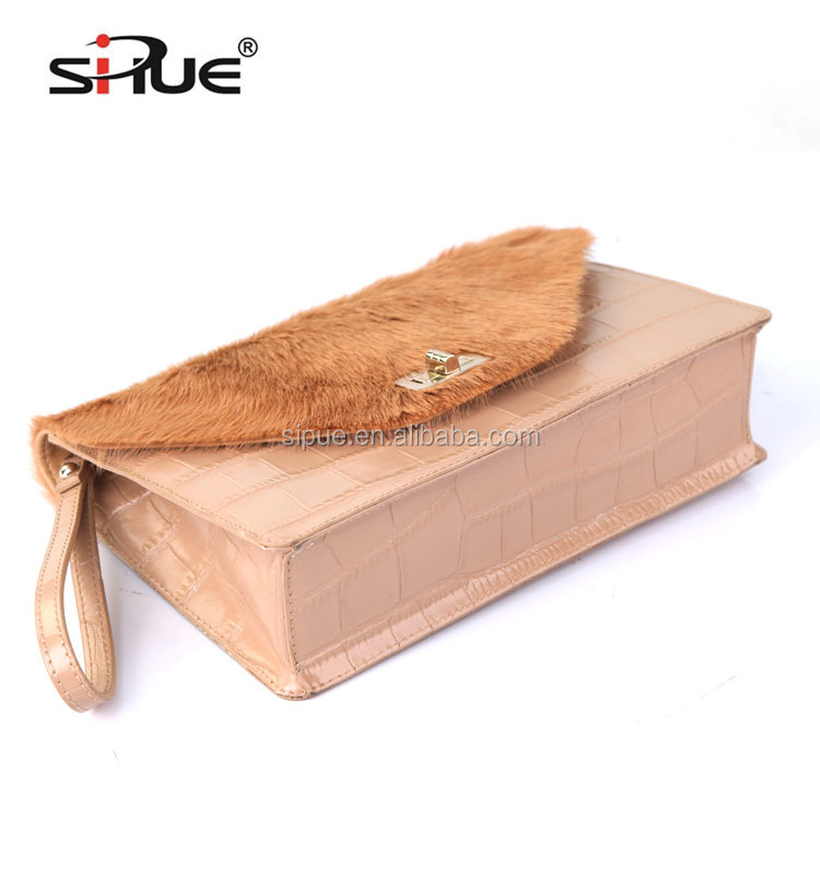 Most popular elegant women horse fur contrast with crocodile pattern leather luxury hand bag clutch bag (SP55597)