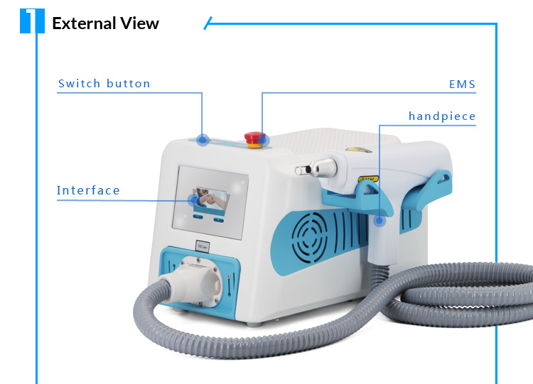 1064Nm Portable Long Pulse Nd Yag Laser Tattoo Removal Machine
