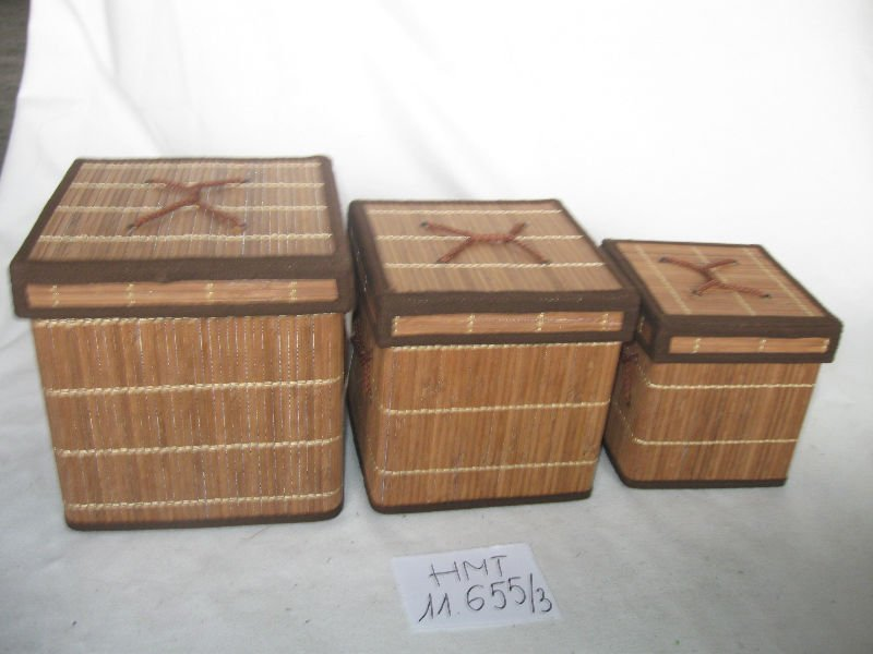 Bamboo storage box, set of 3
