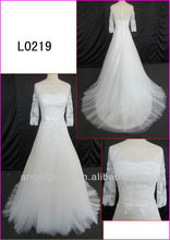 2014 spring pre-collection long sleeves tulle lace A-line wedding gowns/bridal dress with sash or satin belt L0219