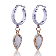 2017 new design gold plated crystal water drop earrings for women