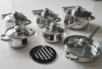 Hot sales 12pcs nonstick magnetic stainless steel hotel cookware