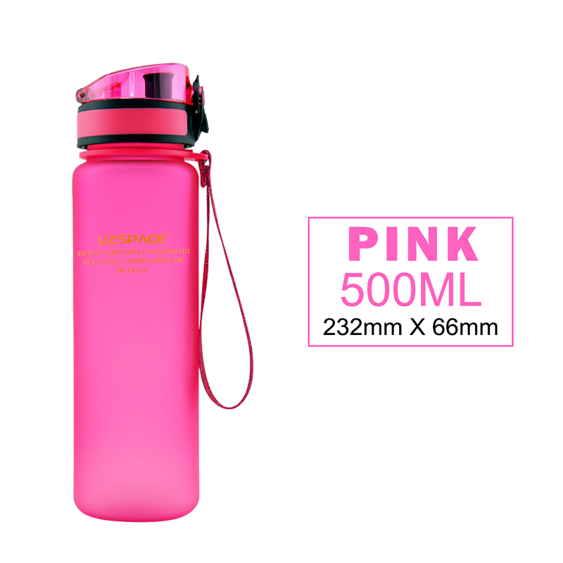 500ml/16oz Custom design frosted/clear sports cycling water bottle with one click open lid