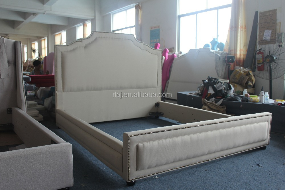 White Modern Sleigh Bed with Upholstered Ottoman Headboard plywood furniture