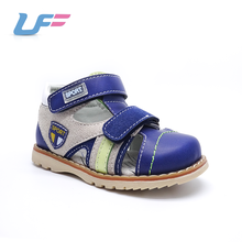 2018 dark blue gray pu leather wrapped toe beach kids sandals