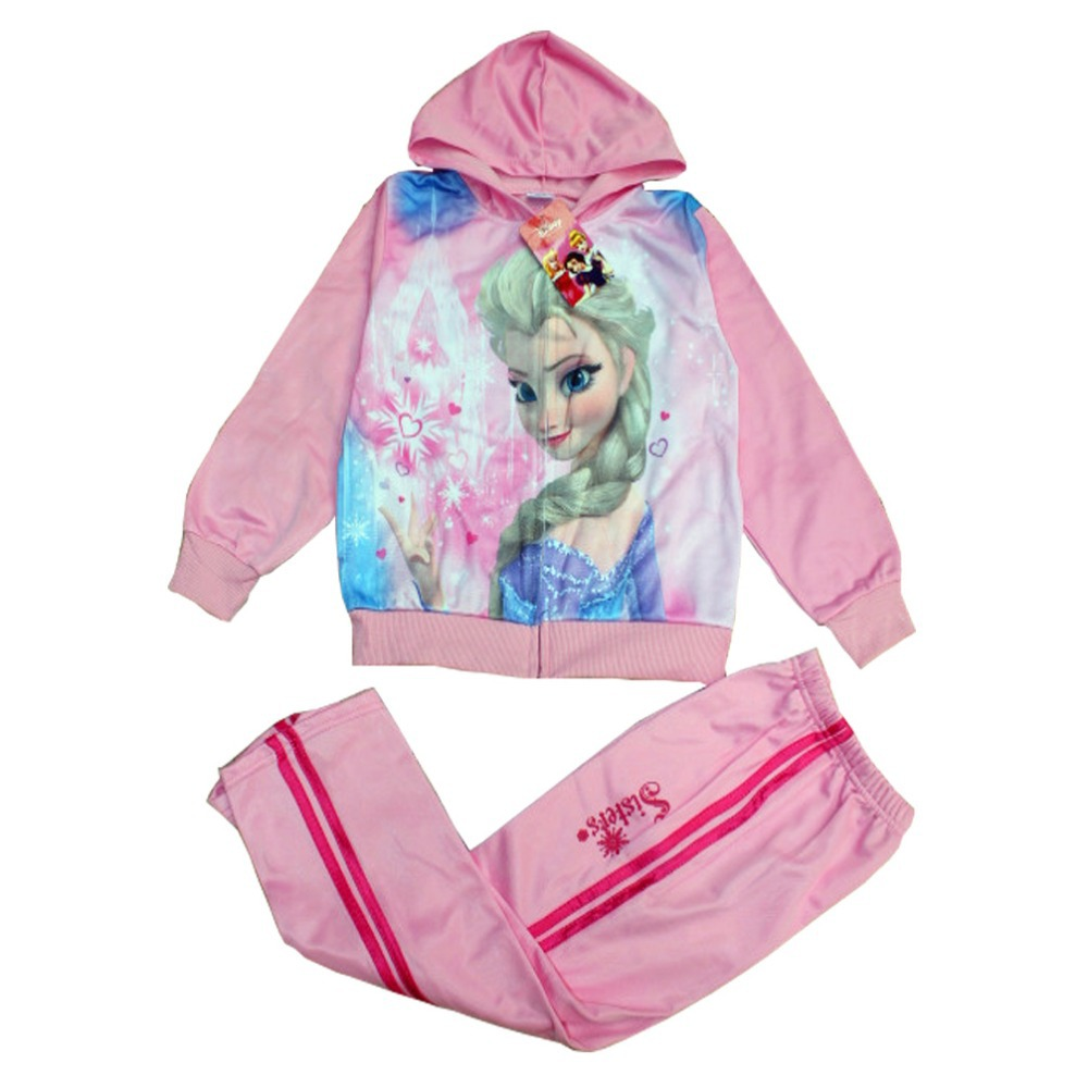 Hot selling. 2014 new winter suit, sports and leisure suits, girls cartoon suit,Romance snow sets,  Anna and Elsa suit