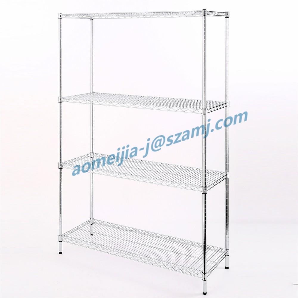 Aomeijia Facile assemblée personnalisé 4 couche métal cadre fil coulissant étagères