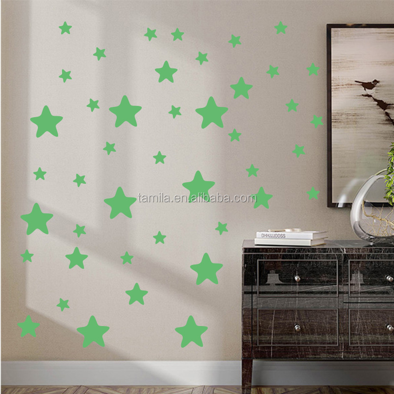 PVC Luminous moon star stickers Fluorescent glow in the dark for home decoration