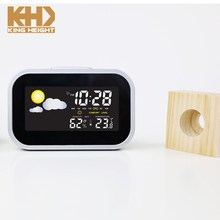 KH-0210 Mini Indoor Temperature and Humidity Monitor Desktop Digital Alarm Clock Snooze Calendar with Home Weather Station Large