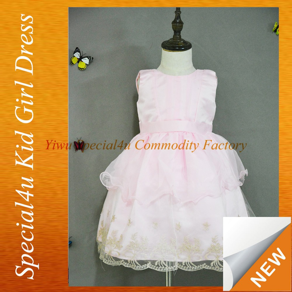Wholesale flower girl dresses tutu wedding dresses lovely lace flower girl dress for wedding pink frock SPSY-153
