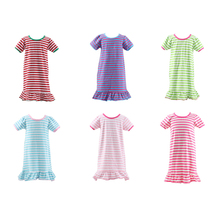 2017 Kiayo children frocks designs fall dress fashionable stripped persnickety clothing baby frock design pictures