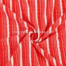 Cheap price polyester rayon hole slubbed yarn dyed stripe 5*5 rib jersey knit fabric for fashion lady garment
