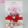 Toddler Girls Hair Accessories Pearl Flowers Crown Headband Elastic 3 Pieces / Set Headbands For Babies