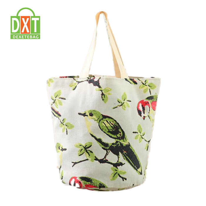 Wholesale low price high quality polyester fancy printed beach tote handbag