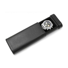 Custom Logo Single Travel Black Leather Watch Case