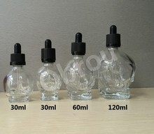 Wholesale glass skull bottle 30ml empty skull dropper glass shape skull dropper bottles for e cig e liquid with pipette