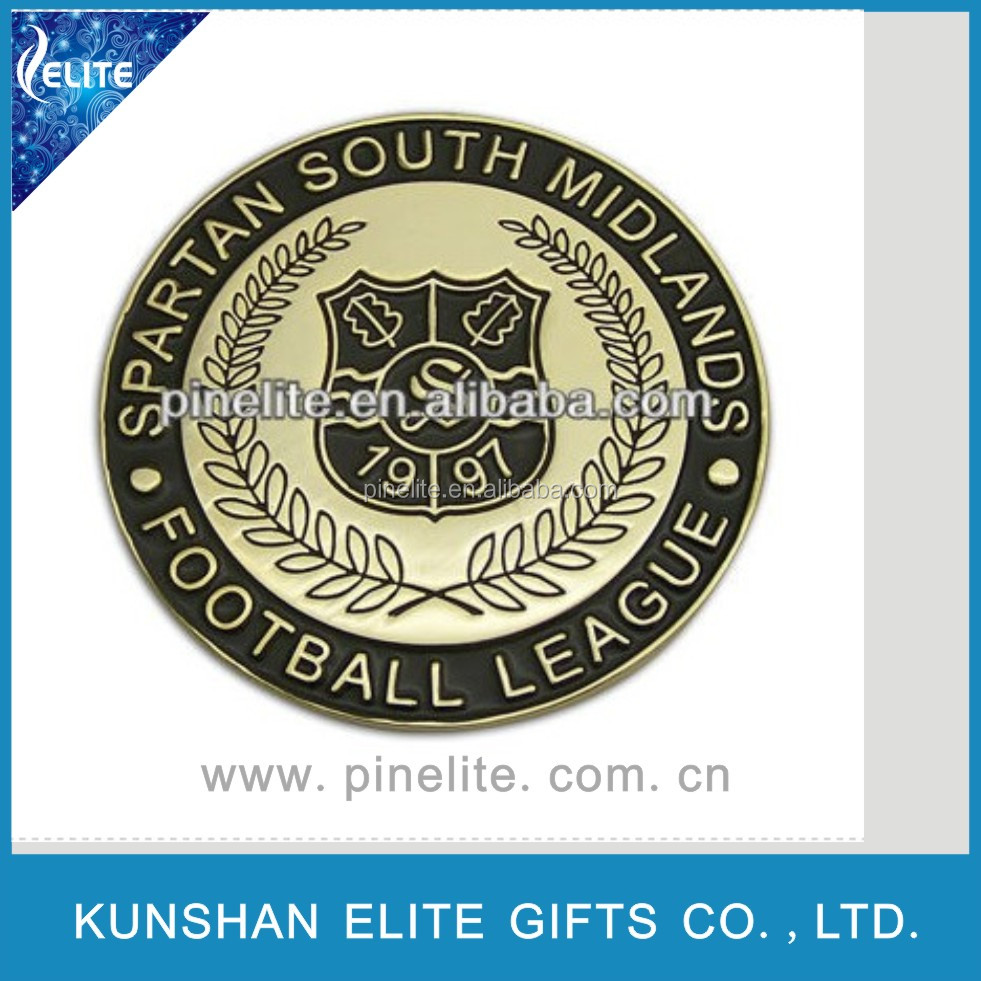 soft enamel football metal antique coin, chanllenge coins, gold coins