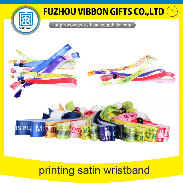 heat  transfer sublimation music festival fabric satin wristband for sale