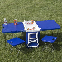 Outdoor picnic Multi function rolling and camping cooler with table and 2 chairs