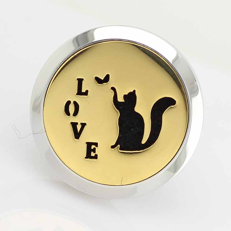 Love and Cat Stainless Steel Diffuser Perfume Locket For Car Wholesale PK081
