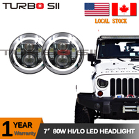 Local Delivery ! Super bright 80w led motorcycle headlight hi / low beam h7 led headlight led auto headlights with angle eye