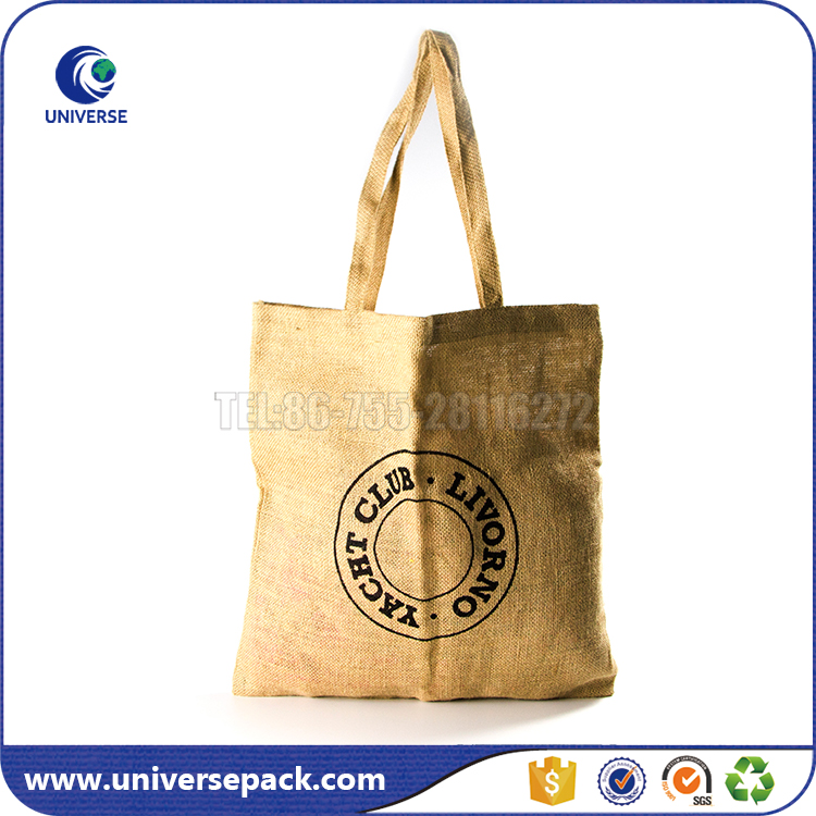 Useful Natural Burlap Tote Flat Jute Shopping Bag Wholesale With Logo