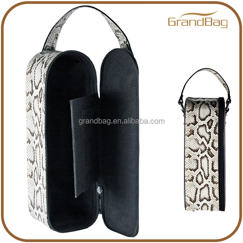 python embossed leather wine bottle holder bottle carrier wine tote bag spirits carrier