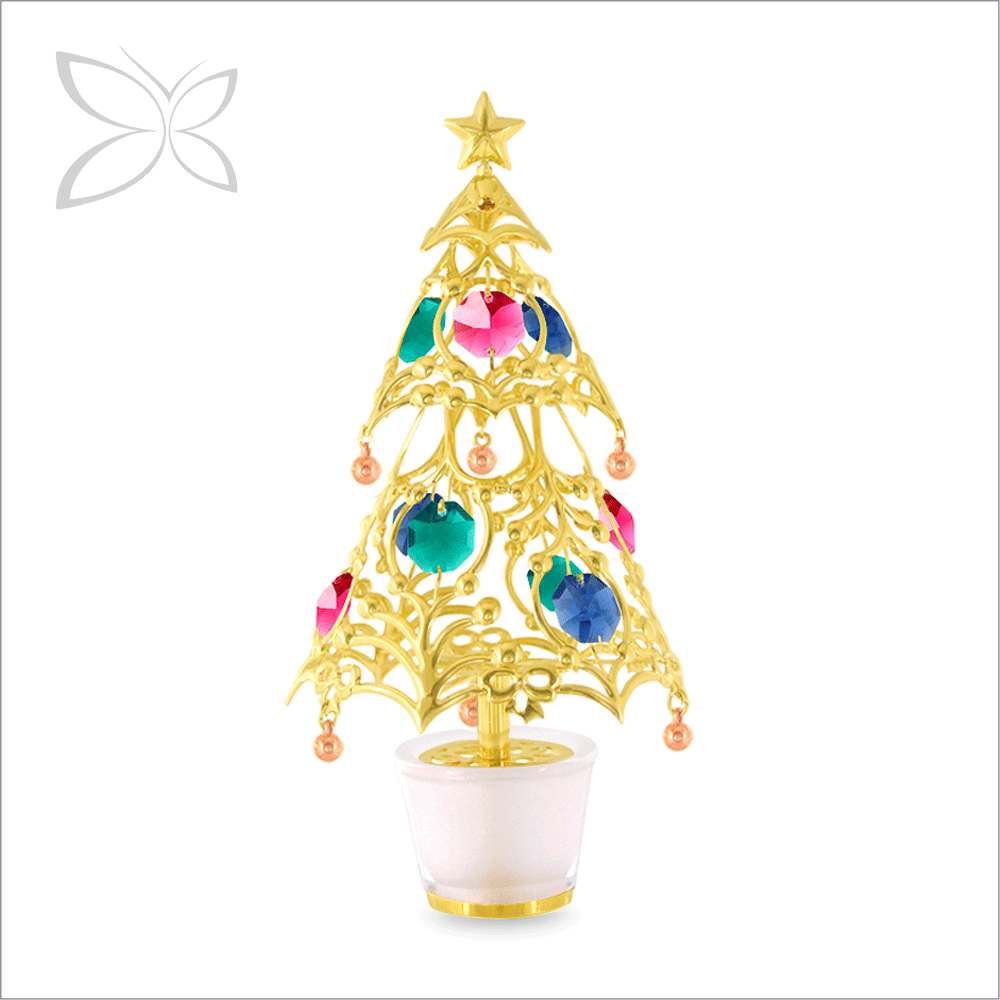 Good Quality Gold Plated Metal Crystal Christmas Tree Car Perfume Air Freshener