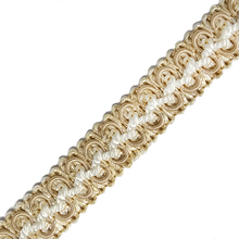 Latest promotion cheap white and golden braid fringe gimp for garment