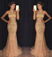 Champagne Prom Dresses High Neck Beaded Crystals Long Prom Gown Formal Evening Dresses