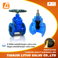 Ductile Iron Resilient seated gate valve non rising stem flange ends 200/250PSI