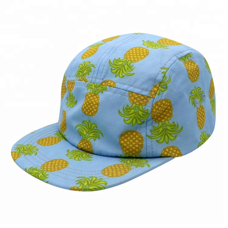 Wholesale Custom Irregular Full Printed Pineapple Pattern 5 Panel Camp Cap <strong>Hat</strong>