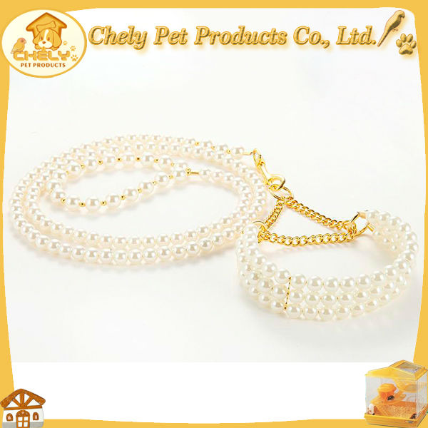 Pretty Gorgeous Pearl Beaded Dog Collar Leash For Attending Party Pet Collars & Leashes