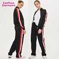 new arrival women tracksuit, zip up jacket,side striped joggers