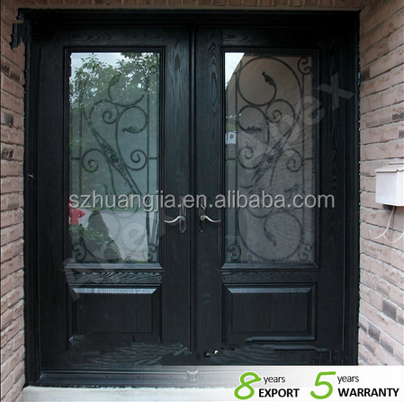 Wood wrought iron double entry door /wood glass door