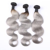 Fashionable 100% brazilian body wave human hair extension ombre grey Brazilian hair weave bundles wholesale and retail