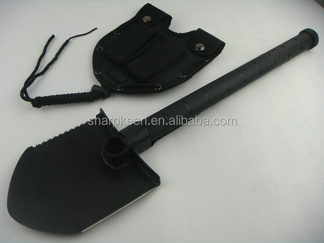 Multi-purpose shovel can be used as shovel, knife, saw, hammer, hoe, pickaxe