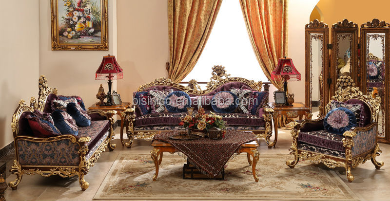 Great British Retro Royal Furniture, Living Room Gold Painting Sofa Set,  Classical Carved Wooden