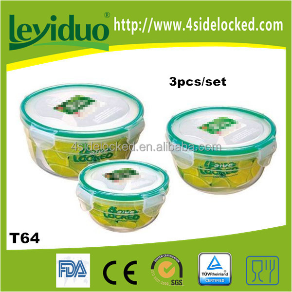 3 in 1 round stackable food container set for promotion