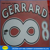 Customized number heat transfer printing for soccer jersey