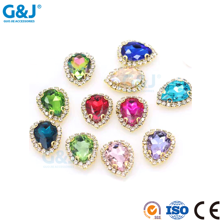 Guojie brand oval shape sew for garments stone with claw pointback style rhinestone